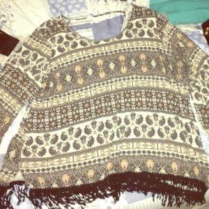 Comfy fringe pattern shirt